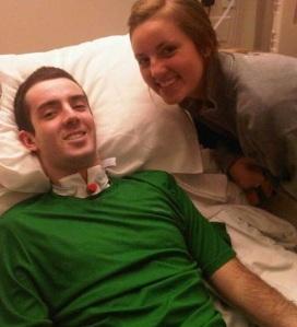 Laura visiting me in Atlanta in my final weeks in the hospital